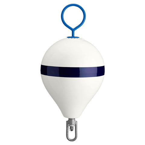 "Polyform Mooring Buoy w/Iron 13.5"" Diameter - White Blue Stripe [CM-2 WH-STR]"
