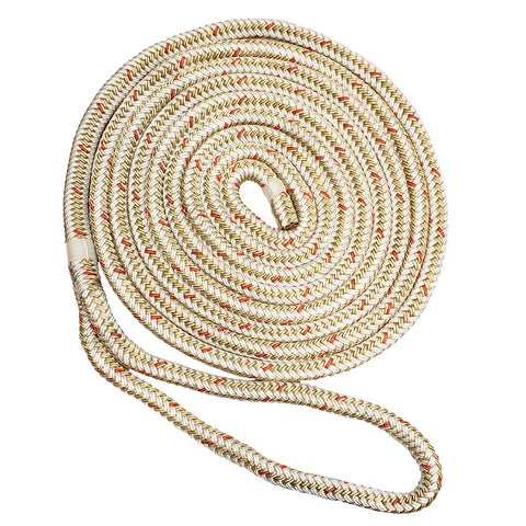 "New England Ropes 3/8"" x 15 Nylon Double Braid Dock Line - White/Gold w/Tracer [C5059-12-00015]"