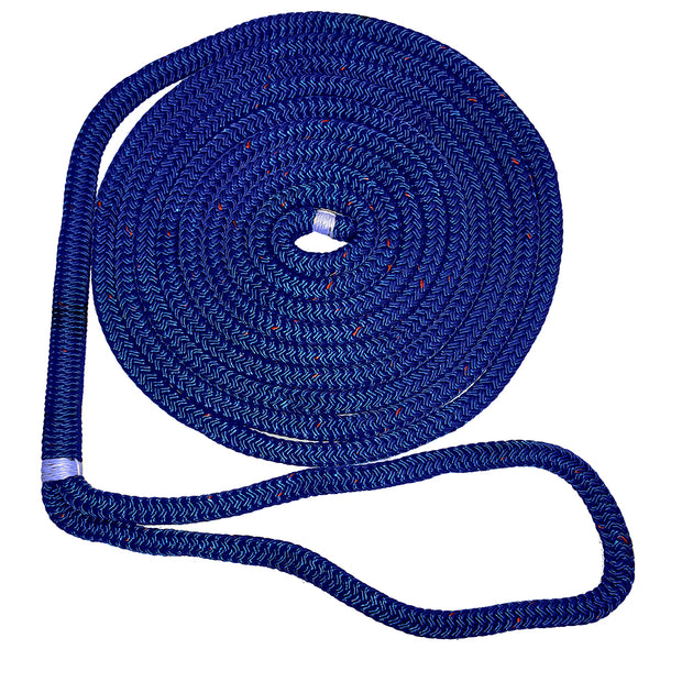 "New England Ropes 1/2"" X 15 Nylon Double Braid Dock Line - Blue w/Tracer [C5053-16-00015]"