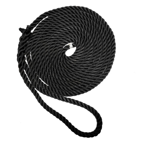 "New England Ropes 1/2"" X 25 Premium Nylon 3 Strand Dock Line - Black [C6054-16-00025]"