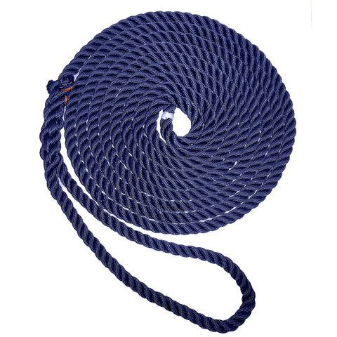 "New England Ropes 5/8"" X 25 Premium Nylon 3 Strand Dock Line - Navy Blue [C6053-20-00025]"
