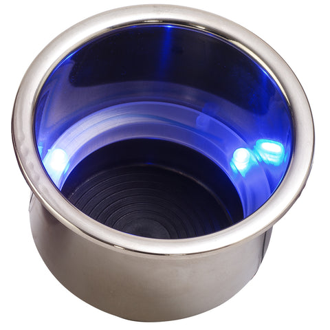 Sea-Dog LED Flush Mount Combo Drink Holder w/Drain Fitting - Blue LED [588074-1]
