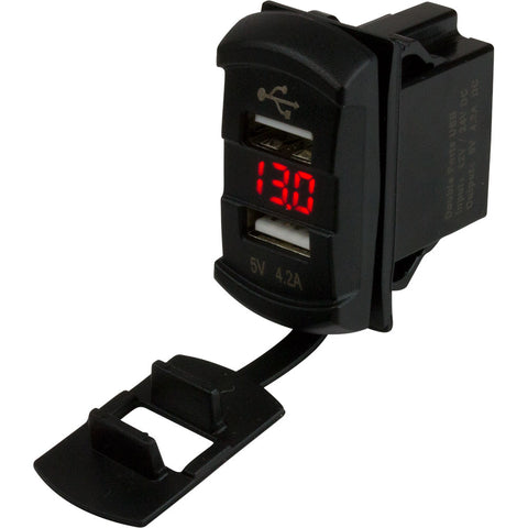 Sea-Dog Dual USB Rocker Switch Style Voltmeter w/Hidden Display [426527-1]