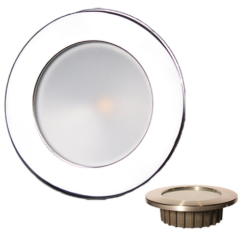 Lunasea ZERO EMI Recessed 3.5 LED Light - Warm White, Blue w/Polished Stainless Steel Bezel - 12VDC [LLB-46WB-0A-SS]