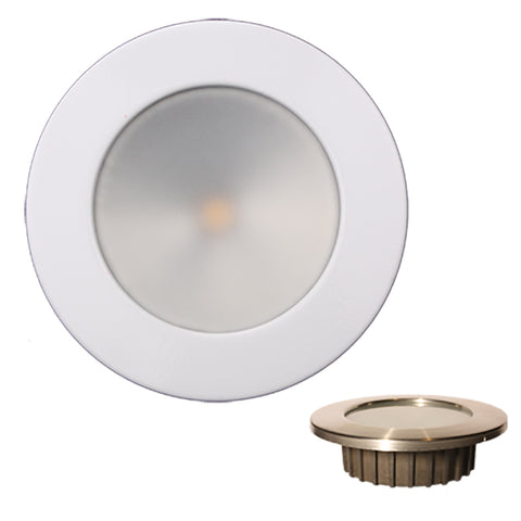 Lunasea ZERO EMI Recessed 3.5 LED Light - Warm White w/White Stainless Steel Bezel - 12VDC [LLB-46WW-0A-WH]