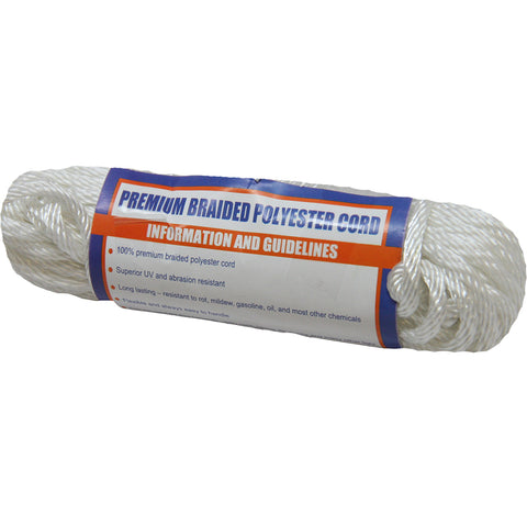 "Sea-Dog Solid Braid Polyester Cord Hank - 5/32"" x 50 - White [303304050-1]"