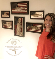 Wall Art - Medium - Redfish American Flag 3D Wood Art