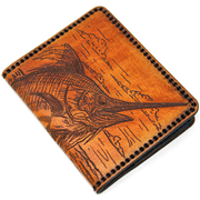 Hand Stitched Leather Wallet - Blue Marlin
