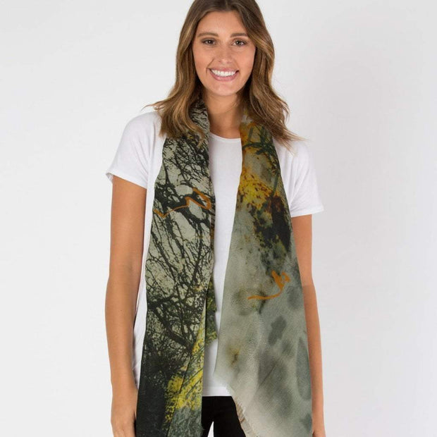 green wool scarf