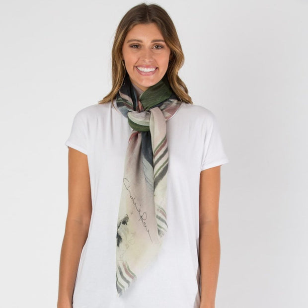 white wool abstract scarf