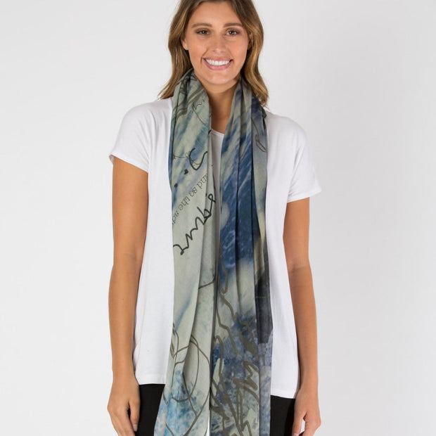 blue grey wool scarf