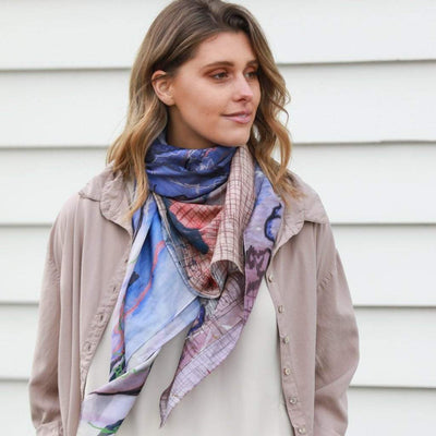 purple and blue silk cotton scarf. Inspired by the ocean. Designed in Melbourne Australia.