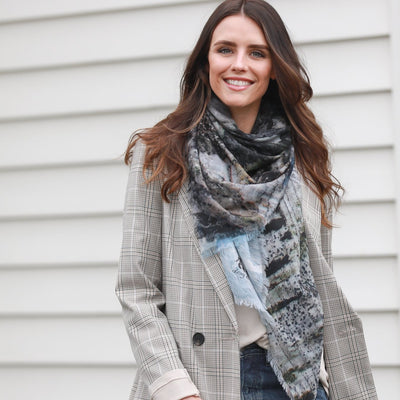 Blue and grey merino wool winter scarf. Designed in Melbourne Australia. Sale