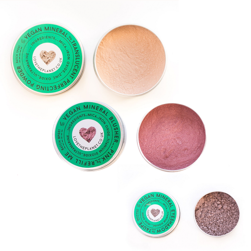 love the planet vegan mineral peach gift set
