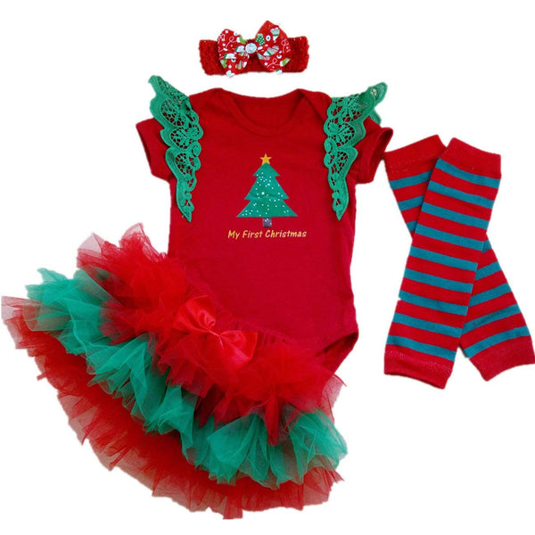 d3c1b5c50519 Baby Girl 1st Christmas Tutu Outfit Newborn Santa Costumes Dress 4 PCs