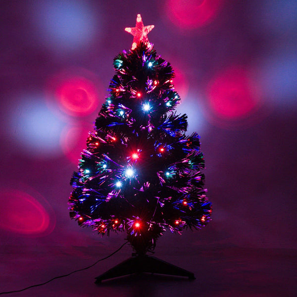 7 Artificial Holiday Fiber Optic Led Light Up Christmas Tree W 8