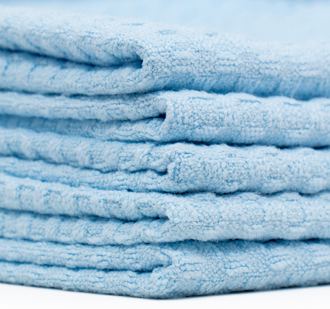The Rag Company Premium Korean 16 X 16 Waffle Weave Microfiber Towel - LIGHT BLUE