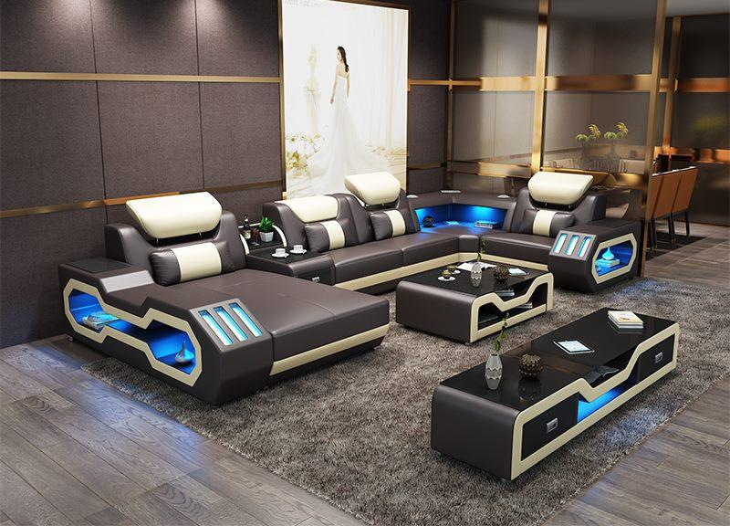Only $159 & Free Shipping | Modern living room furniture leather sofa set  with LED lights