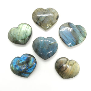 Labradorite heart palm smooth stone carving  35m