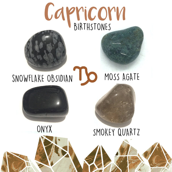 Capricorn December 22 - January 19 Birthstones crystal kit 4 tumbled stones with velvet