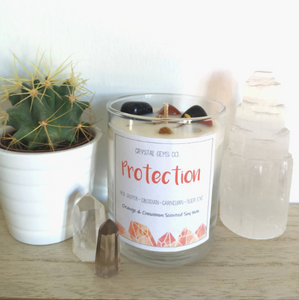 Protection soy wax candle carnelian, red jasper, black obsidian and tiger eye tumbled stone orange and cinnamon scent