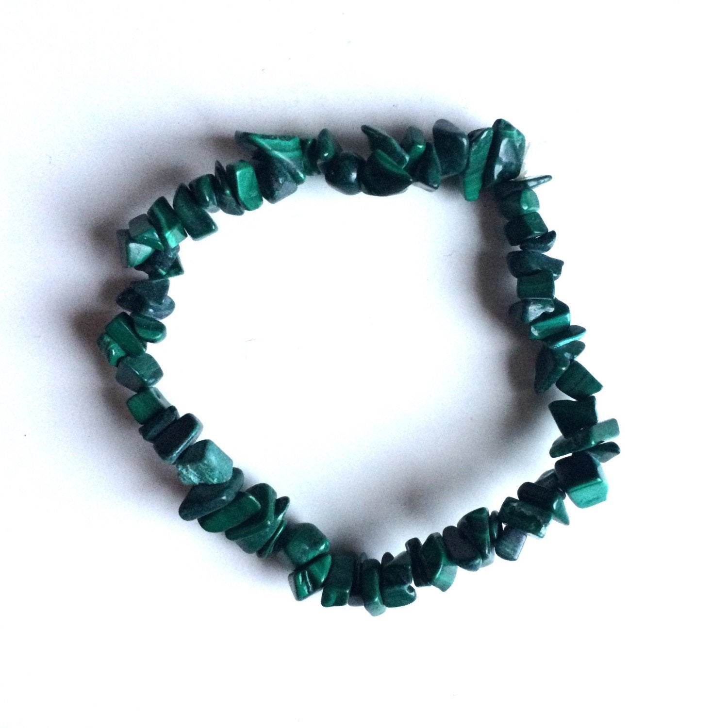 Malachite green Gemstone crystal chip bracelets