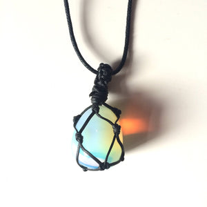 Opalite tumbled stone hemp Macrame wrapped pendant necklace