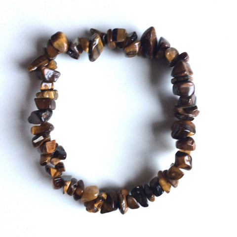Tigereye gemstone golden chip bracelet