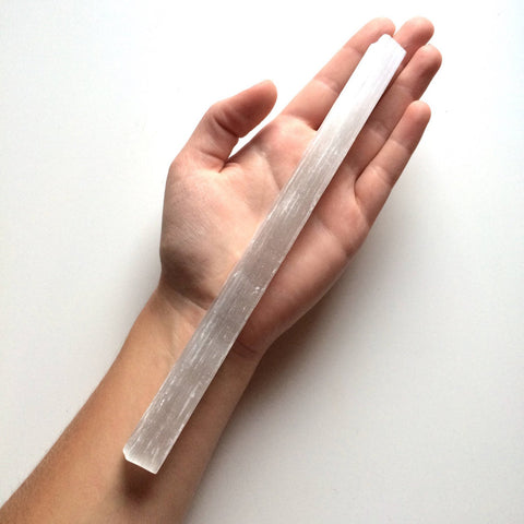 Large selenite stick wand 20cm long for cleansing the aura