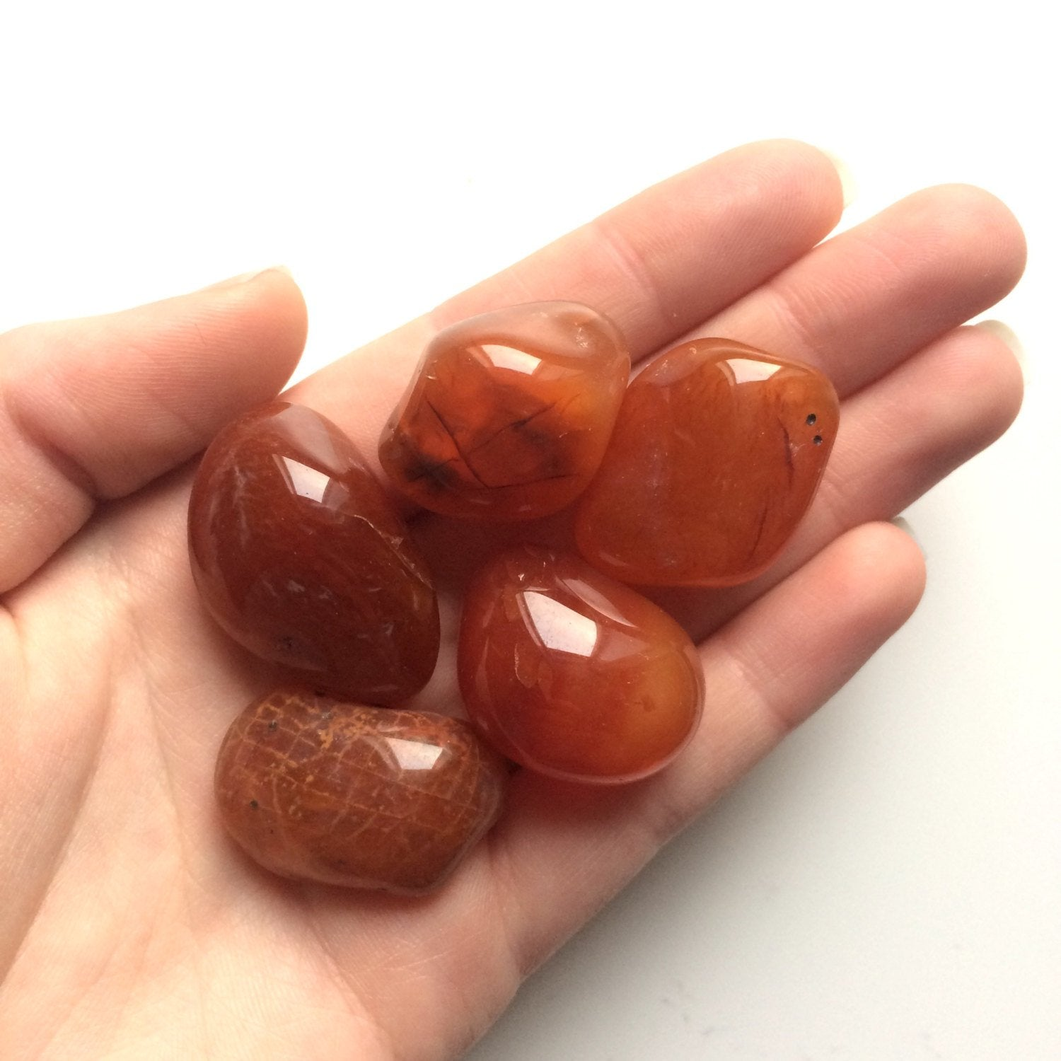 Carnelian tumbled stone smooth stone worry stone 30mm Virgo