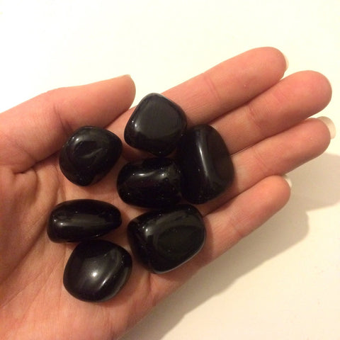 Black obsidian 20mm tumbled stone Gemini