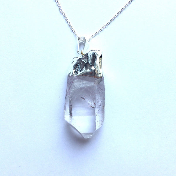 Crystal point pendant with silver plated chain
