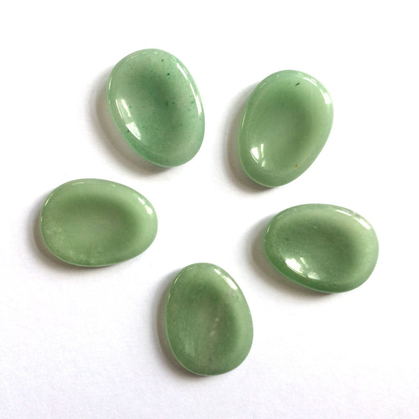 Green aventurine palm thumb smoothstone worry stone