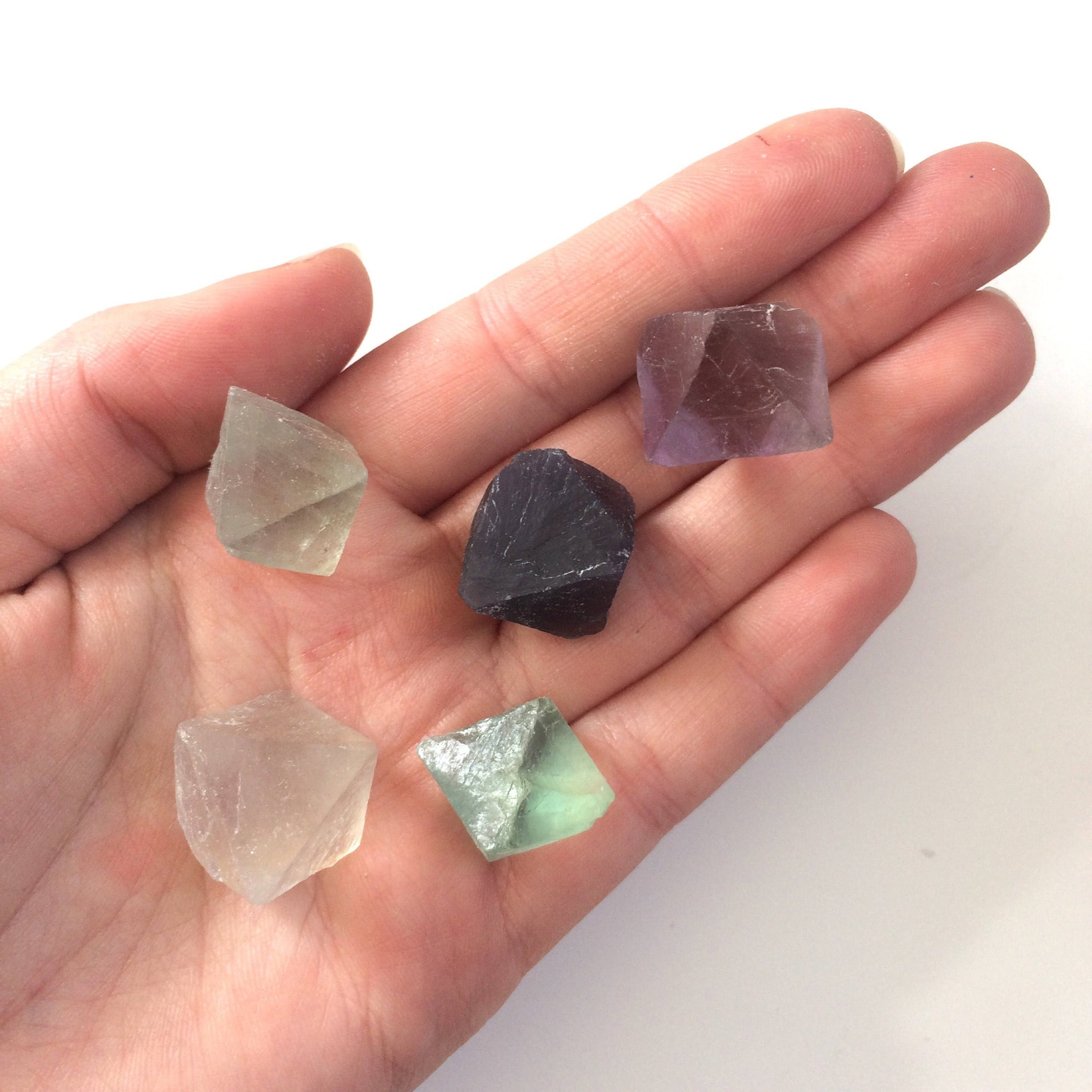 fluorite octahedron natural raw green rough rock stone small
