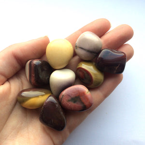 Mookaite red and yellow tumbled stone medium 25mm