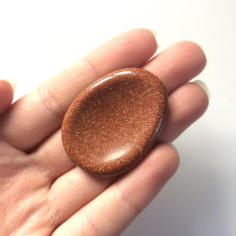 Goldstone palm thumb smoothstone worry stone