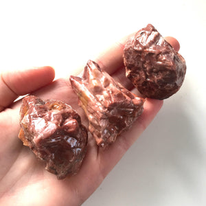 Red calcite raw natural stone 1.5""