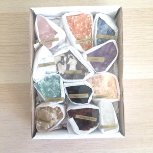 Natural rough rock crystal set of 12 stones