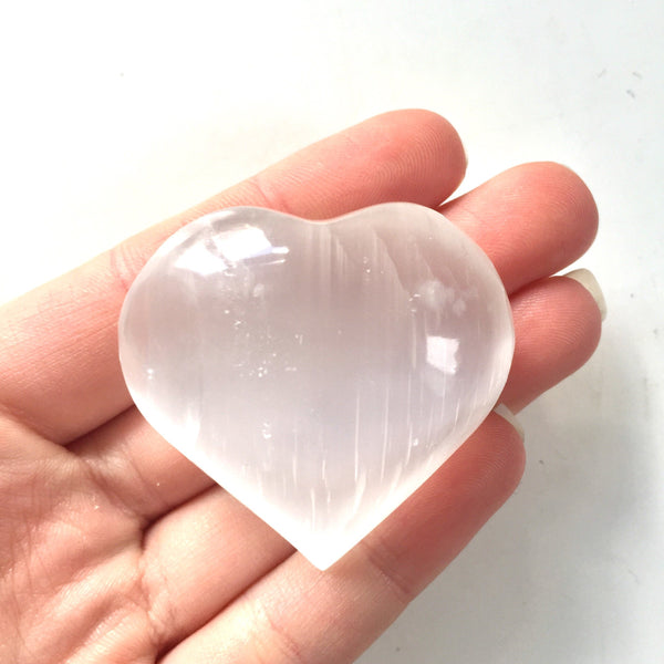 Selenite heart mineral satin spar 40mm