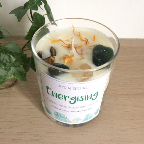 Energising soy wax candleBloodstone, Citrine, Aventurine & Tiger eye tumbled stone lemon and lime scent