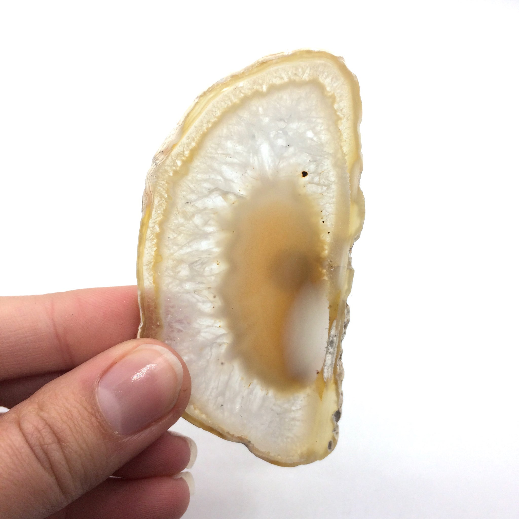 Natural agate slice polished decorative 7.5cm