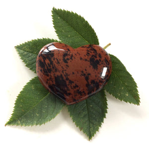 Mahogany Obsidian heart shaped smooth palm stone pocket healing 30mm