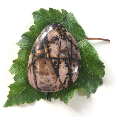 Rhodonite pink palm smoothstone worry stone
