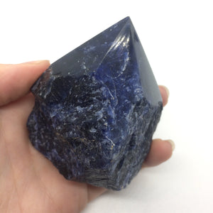 Sodalite blue standing polished point tower rough