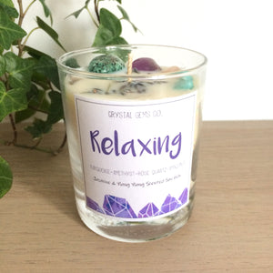Relaxing soy wax candle Turquoise, Amethyst, Rose quartz and Amazonite tumbled stone Jasmine & Ylang Ylang scent