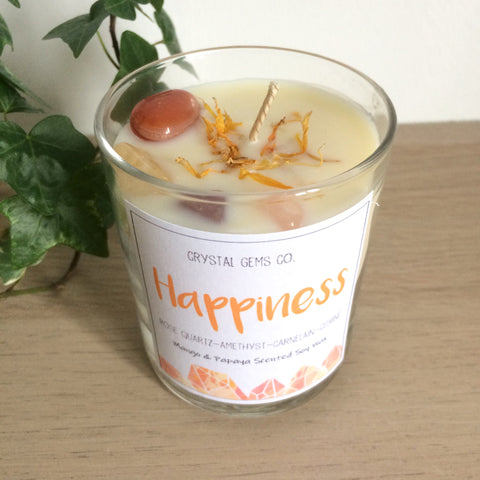 Happiness soy wax candle carnelian, citine, amethyst and Rose quartz tumbled stone Thai Lime & Mango scent