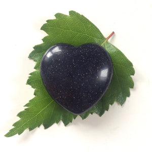 Blue Goldstone heart shaped smooth palm stone pocket healing 30mm