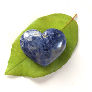 Sodalite heart shaped smooth palm stone pocket healing 30mm