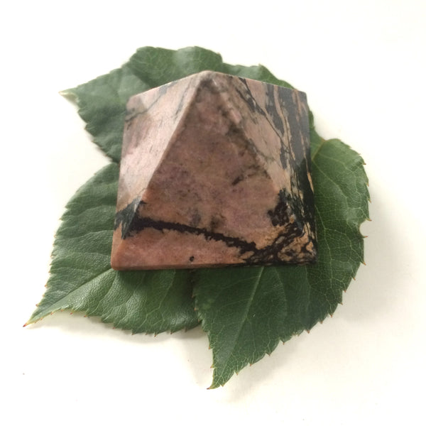 Rhodonite pink pyramid polished point 35mm