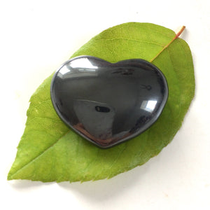 Hematite heart shaped smooth palm stone pocket healing 30mm